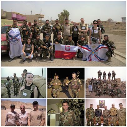 Zolnierze Peszmergi wTeleskof front walki zISIS wpolnocnym Iraku